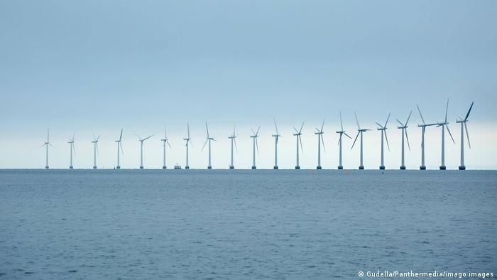 Offshore wind turbines at sea off Copenhagen Denmark