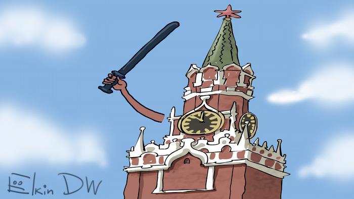 Карикатура Сергея Елкина: Кремль замахивается дубинкой в сторону стороников Навального
