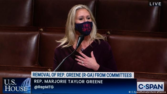 February 4, 2021: Representative MARJORIE TAYLOR GREENE (R-GA), a conspiracy theorist and QAnon supporter, speaks on her own behalf as the House of Representatives considers her removal from her two committee assignments due to her past statements which include threats of violence against members of Congress.