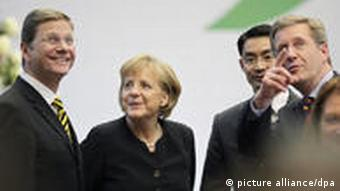 Guido Westerwelle, Angela Merkel, Christian Wulff and Phillip Roesler