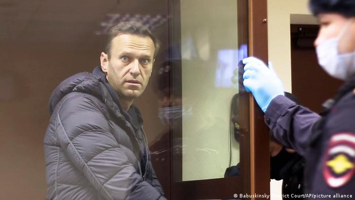 Nawalny bei einer Gerichtsanhörung in Moskau