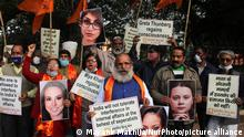 04.02.2021 *** Members from United Hindu Front hold placards and shout slogans during a demonstration, to protest against Swedish climate activist Greta Thunberg, Barbadian singer Rihanna and American lawyer Meena Harris for commenting in support of protesting farmers, at Jantar Mantar in New Delhi, India on February 4, 2021. (Photo by Mayank Makhija/NurPhoto)