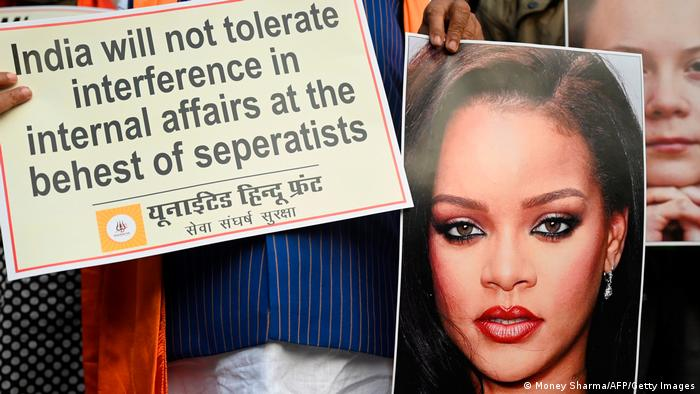 Indien Neu Delhi |United Hindu Front | Protest gegen Thunberg, Rihanna & Harris
