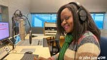 Tatu Karema, presenter with DW Kisuaheli in radio studio Bonn.