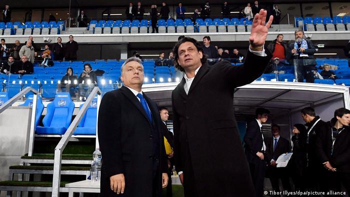 Hungarian Prime Minister Viktor Orban (left) and MTK Budapest president Tomas Deutsch
