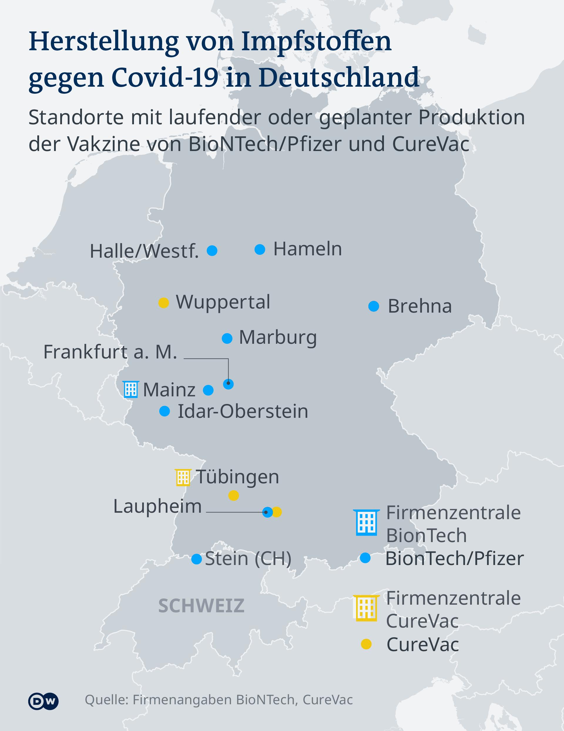 Infografik - Produktionsstaetten von Corona-Impfstoff in Deutschland - DE