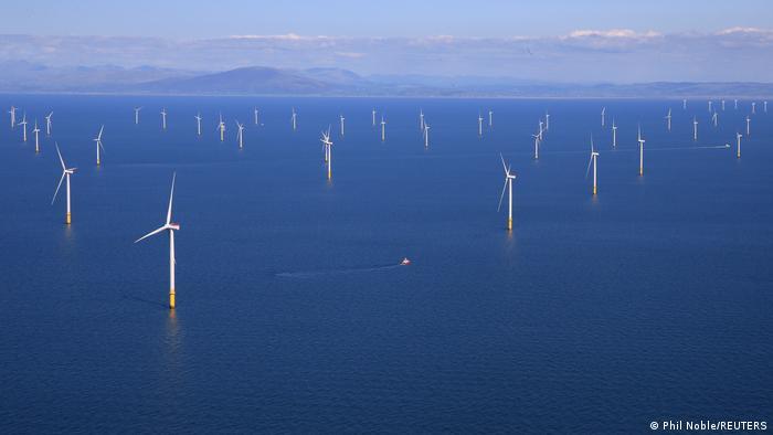 Offshore wind farm off the coast of Blackpool, Britain.