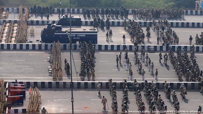 A barricade where Ghazipur meets Uttar Pradesh seen on February 3