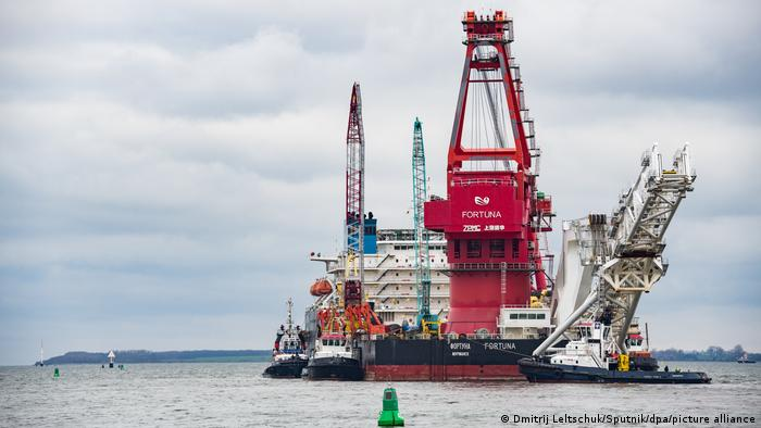 Russia's pipe-laying ship Fortuna is seen in the port ahead of the resumption of Nord Stream 2 gas pipeline construction, in Wismar, Germany.