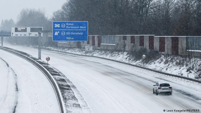 Highways in Germany are covered in snow