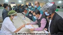 February 7, 2021: Medical personnel sort out registration of Corona fighters ahead of Corona vaccination at Osmani Medical College and Hospital, Sylhet Bangladesh, at the first day of Corona Vaccination. (Credit Image: © Md Rafayat Haque Khan/ZUMA Wire