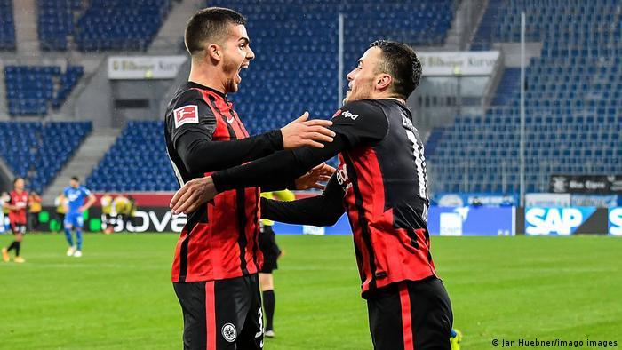 Andre Silva and Filip Kostic celebrate a Frankfurt goal