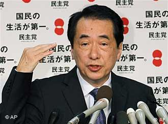 Japan's Prime Minister Kan Naoto speaking to the press