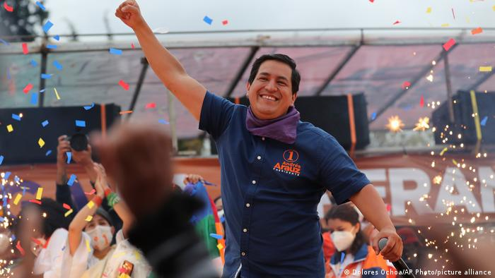 Andres Arauz, who is running for president with the United for Hope alliance, holds his closing campaign rally in Quito, Ecuador