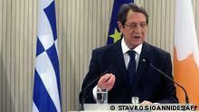 A handout picture provided by the Cypriot government's Press and Information Office (PIO) on February 8, 2021 Cyprus' President Nicos Anastasiades speaking during a joint press conference with the Greek Prime Minister at the presidential palace in the capital Nicosia. (Photo by Stavros IOANNIDES / various sources / AFP) / === RESTRICTED TO EDITORIAL USE - MANDATORY CREDIT AFP PHOTO / HO / PIO - NO MARKETING NO ADVERTISING CAMPAIGNS - DISTRIBUTED AS A SERVICE TO CLIENTS ===