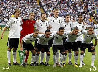 The German team poses before a friendly soccer match between Germany and Bosnia-Herzegovina in Frankfurt, central Germany, Thursday, June 3, 2010.