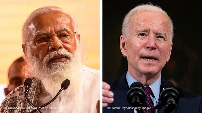 Kombobild Modi - Biden