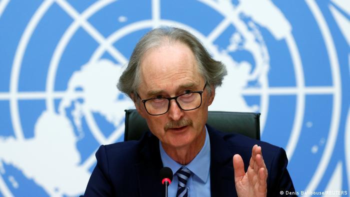 UN envoy Geir Pedersen gestures during a press conference on Syria