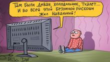 Karikatur von Sergey Elkin - Russische Propaganda über Nawalny