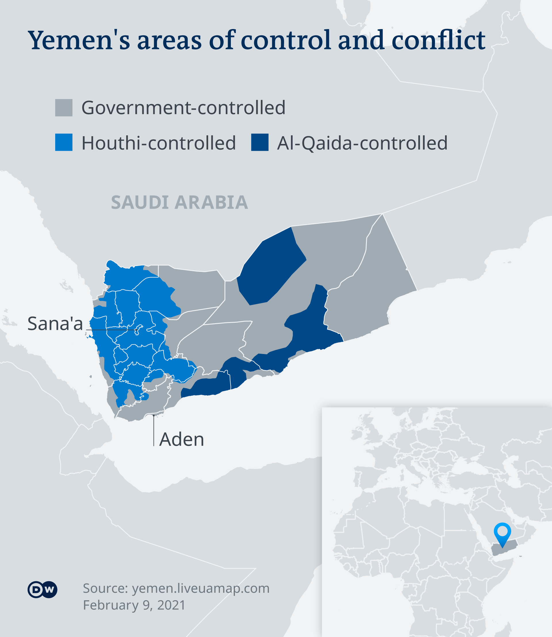 Map of Yemen, showing areas of rebel and government controlled territory.