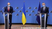 Nato Generalsekretär Stoltenberg und Ukraine Ministerpräsident Denys Shmyhal in Brüssel