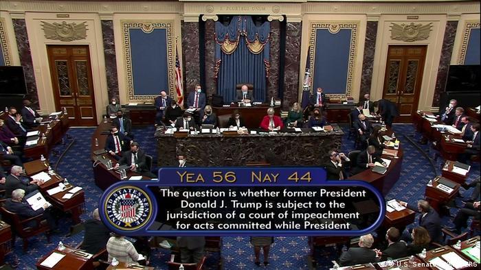 Bekanntgabe des Abstimmungsergebnisse im US-Senat zur Verfassungsmäßigkeit des Impeachment-Verfahrens gegen Donald Trump