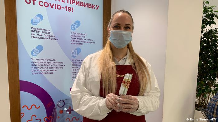 An ice cream seller at the vaccination point at the GUM department store in Moscow