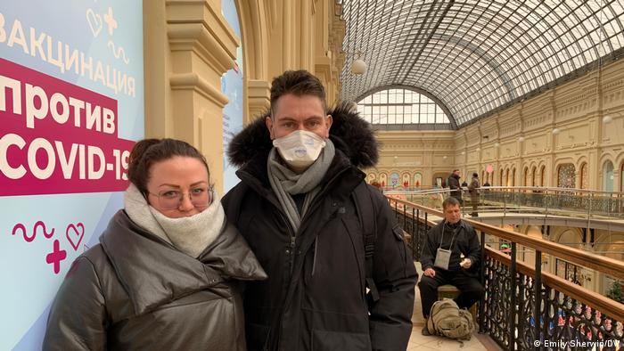 Russland Impfstelle im Moskauer Kaufhaus Gum