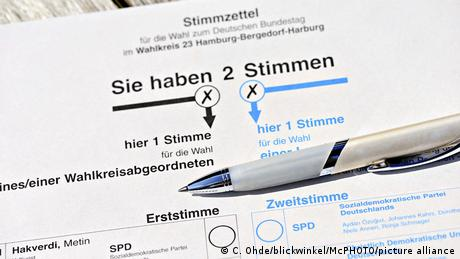 An unmarked German election ballot paper with a pen resting on it.