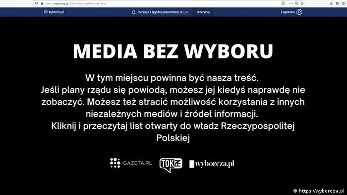 Polen Die polnische Gazeta Wyborcza veröffentlicht heute einen Blackout Protest