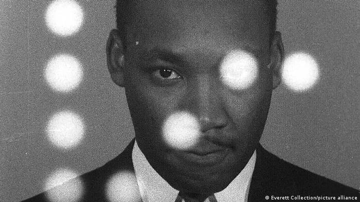 A portrait of Martin Luther King Jr. from the film MLK/FBI