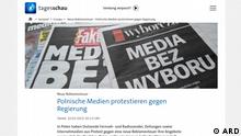 Deutschland | Protest Polnische Journalisten | Screenshot ARD