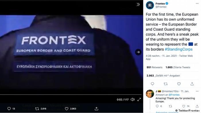 Frontex Uniform | Screenshot Twitter