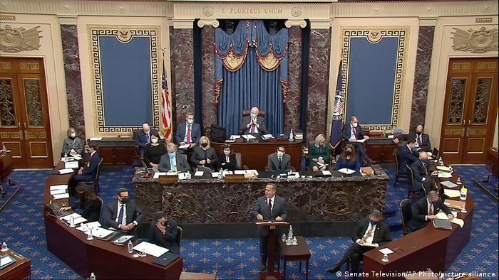 US impeachment trial on the floor of the US Senate