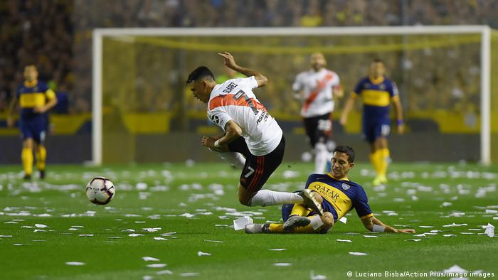 An action shot from Boca Juniors vs River Plate