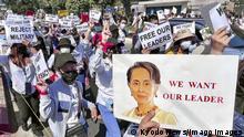 Nach Putsch in Myanmar - Proteste gegen Militärs
