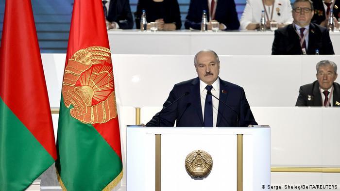 Belarus leader Alexander Lukaschenko gives a speech during the Minsk summit