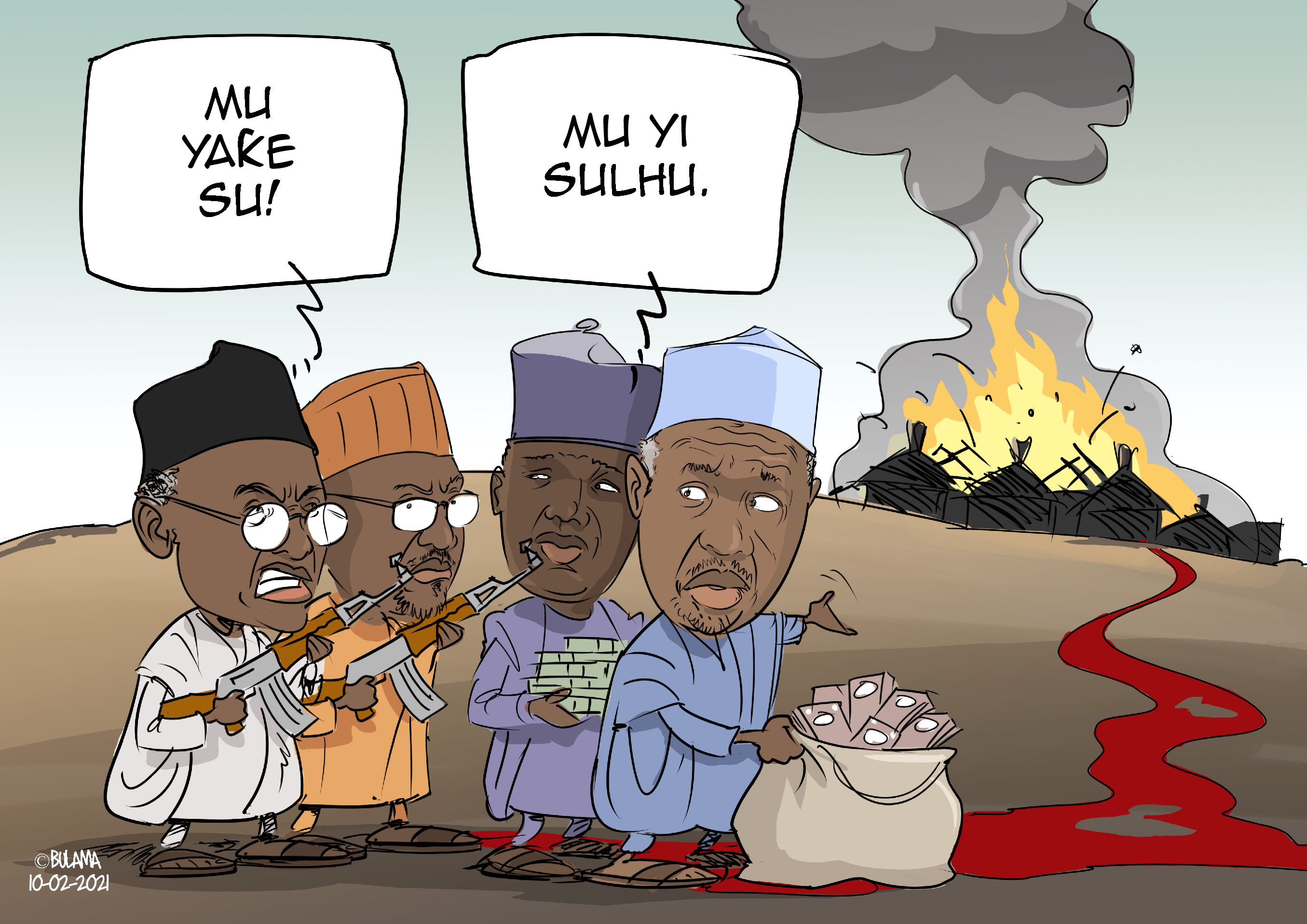 Cartoon Nigeria Sicherheit Lage
