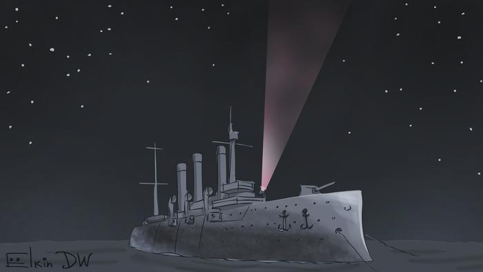 Акция с фонариками за Навального. Февральская революция? Карикатура Сергея Елкина