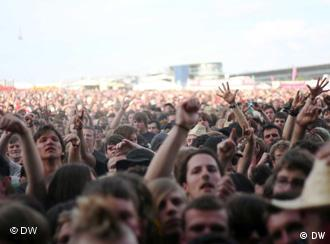 Fans at the Rock am Ring festival during a concert by Lamb of God