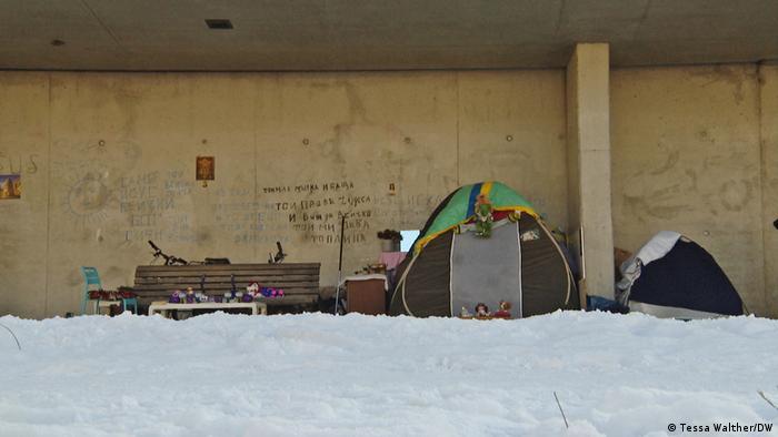 Oameni fără adăpost, sub un pod din Berlin