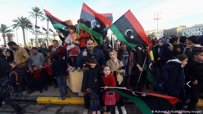 Libyen Demo zum Jahrestag der libyschen Revolution