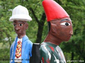 Two figures by Cameroonian artist Marthine Tayou, part of the Who Knows Tomorrow exhibition in Berlin