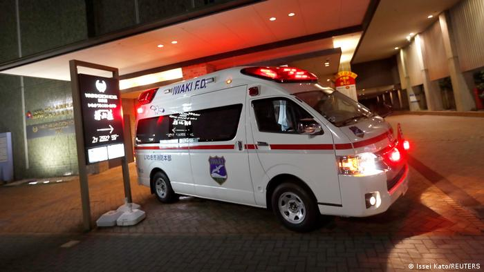An ambulance is seen in front of a hotel following a strong earthquake in Iwaki, Fukushima prefecture, Japan February 13, 2021.