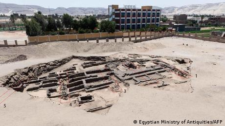 Remains of site at the Abydos archaeological site near the southern city of Sohag