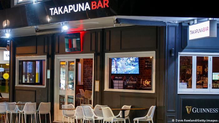 A empty Takapuna bar before the lockdown commences on February 14, 2021 in Auckland, New Zealand