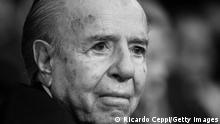 BUENOS AIRES, ARGENTINA - MARCH 01: Former President Carlos Menem looks on during the opening session of the 138th period of the Argentine Congress on March 01, 2020 in Buenos Aires, Argentina. (Photo by Ricardo Ceppi/Getty Images)