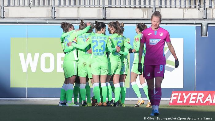 Wolfsburg celebrate a goal against Hoffenheim