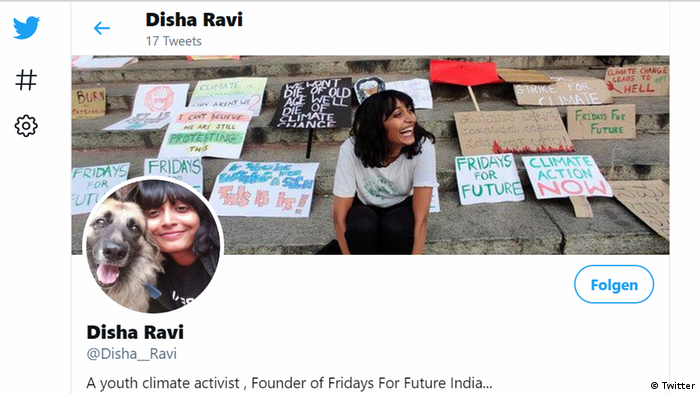 Disha Ravi's Twitter account