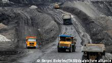 KRASNOKAMENSK, TRANSBAIKAL TERRITORY, RUSSIA - SEPTEMBER 17, 2020: Machinery is deployed at the Urtuisky open pit mine, part of Priargunsky Industrial Mining and Chemical Union (PIMCU), for coal mining and transportation. In terms of sales of 2B/3B grade brown coal, the Urtuisky open pit mine is one of the leading brown coal deposits in the Russian market. PIMCU is the largest uranium mining company in Russia and is a subsidiary of ARMZ Uranium Holding Co (Atomredmetzoloto), which is part of the Rosatom State Corporation. Sergei Bobylev/TASS